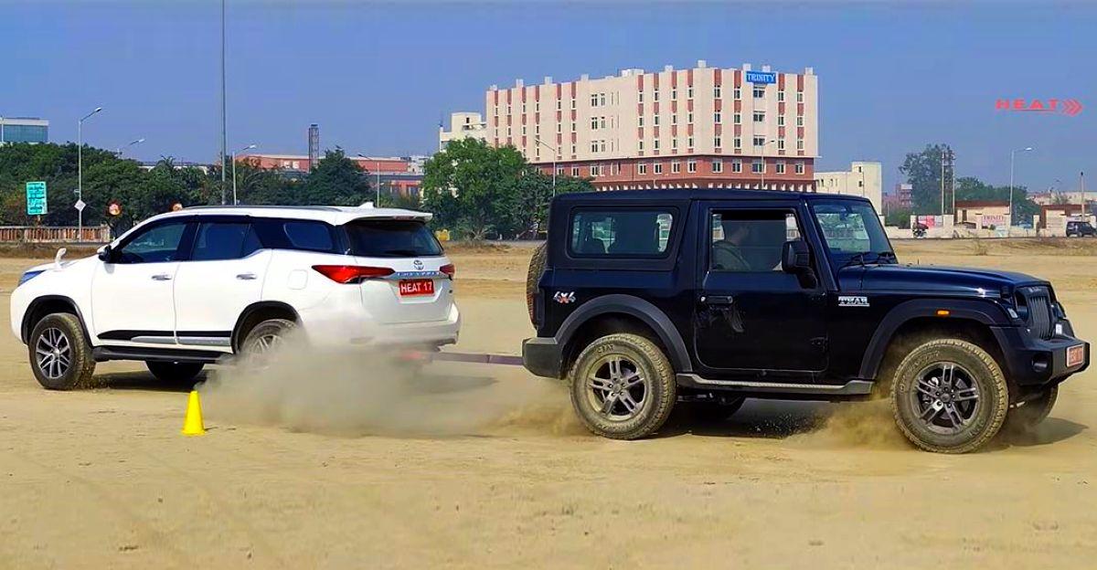 नई Mahindra Thar vs Toyota Fortuner 4X4  क्लासिक टग ऑफ वार