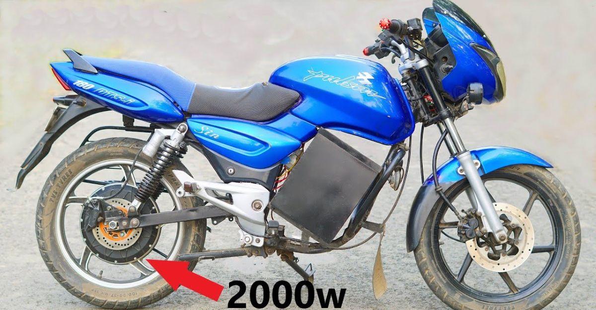 पुरानी Bajaj Pulsar मोटरसाइकिल एक इलेक्ट्रिक बाइक में परिवर्तित की गई