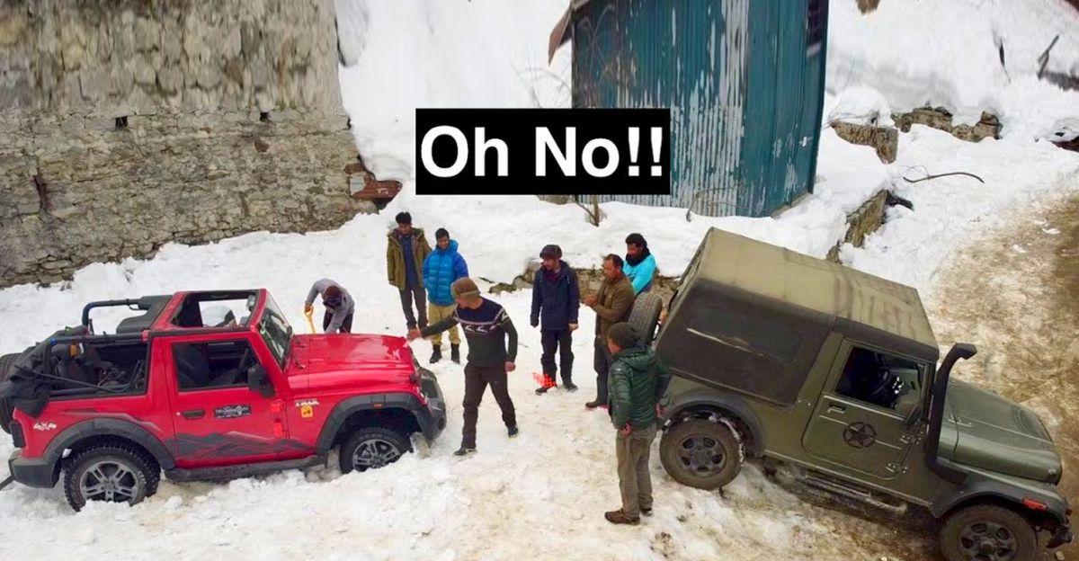 बिलकुल नई Mahindra Thar बर्फ में फंस गयी: पुरानी जनरल Thar बचाव के लिए आई