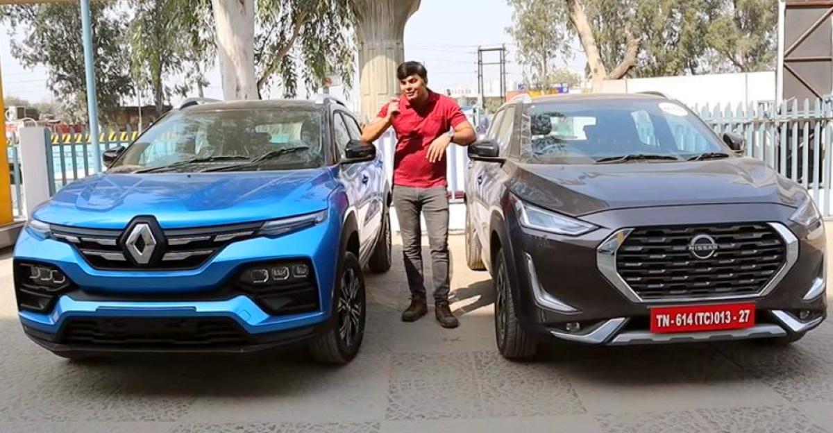Renault Kiger और Nissan Magnite कॉम्पैक्ट SUV के बीच वीडियो में तुलना