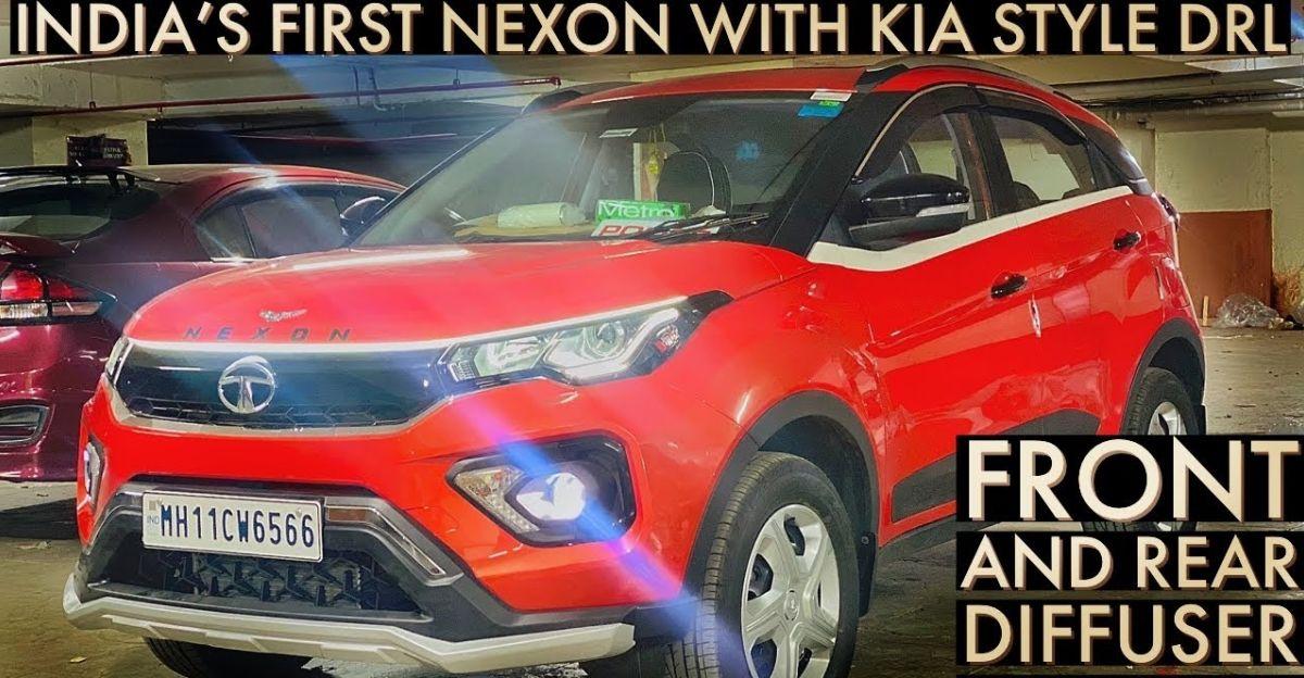 Tata Nexon को Kia Seltos स्टाइल DRL के साथ संशोधित किया गया