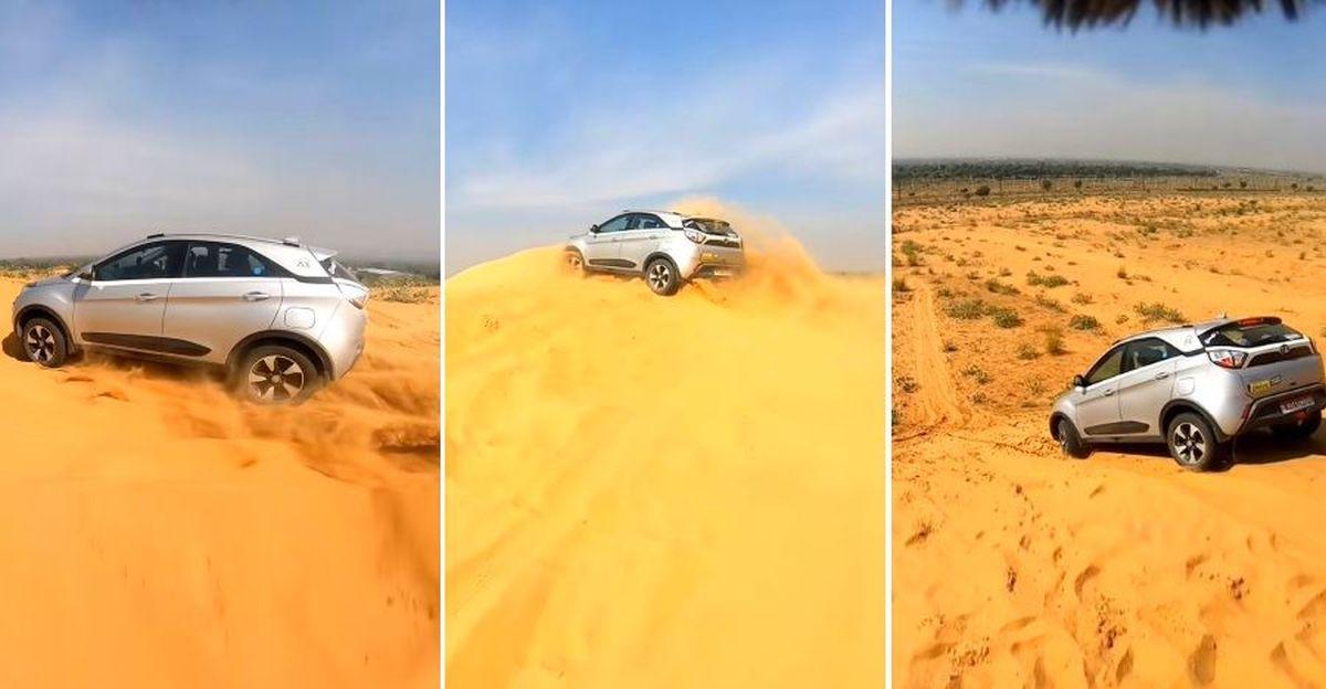Tata Nexon रेत में धंसती चली जाती है जबकि Mercedes-Benz SUV में फंसी रह जाती है