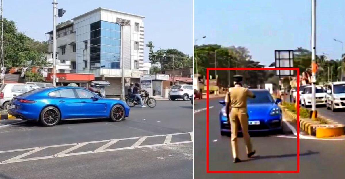 मूवीस्टार Dulquer Salmaan की Porsche Panamera ने गलत तरीके से ड्राइविंग के कारन वापिस जाते हुए [वीडियो]