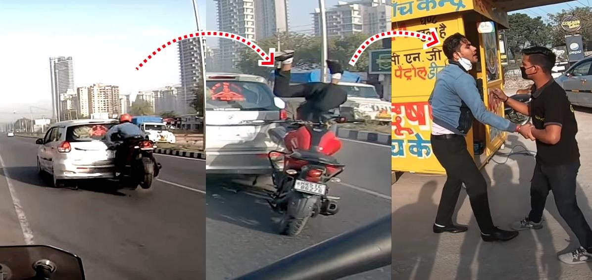 हेलमेट बाइकर को बचाता है रियर-एंडेड कार जो अचानक रुक गई [वीडियो]