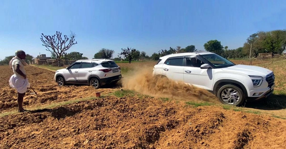 Kia Seltos एक बार नहीं बल्कि दो बार फस जाती है : बचाव के लिए Hyundai Creta