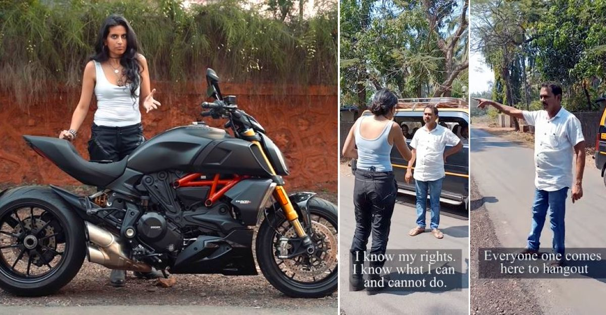 Ducati Diavel सुपरबाइक पर नाराज भारतीय ग्रामीण बनाम बाइकर लड़की [वीडियो]