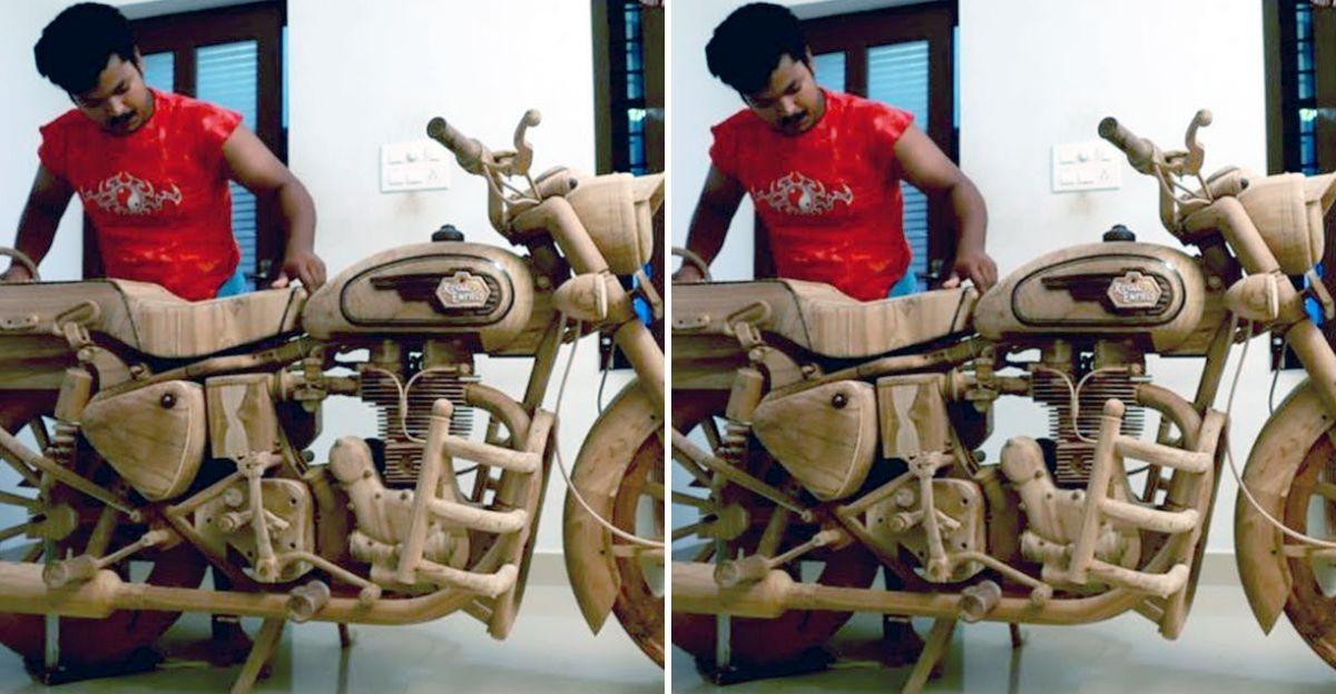 केरल के युवक ने Royal Enfield Bullet मॉडल लकड़ी से तैयार किया