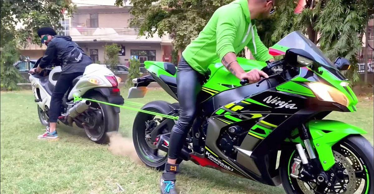 Suzuki Hayabusa vs Kawasaki Ninja ZX10R 'सुपरबाइक रस्साकशी' में