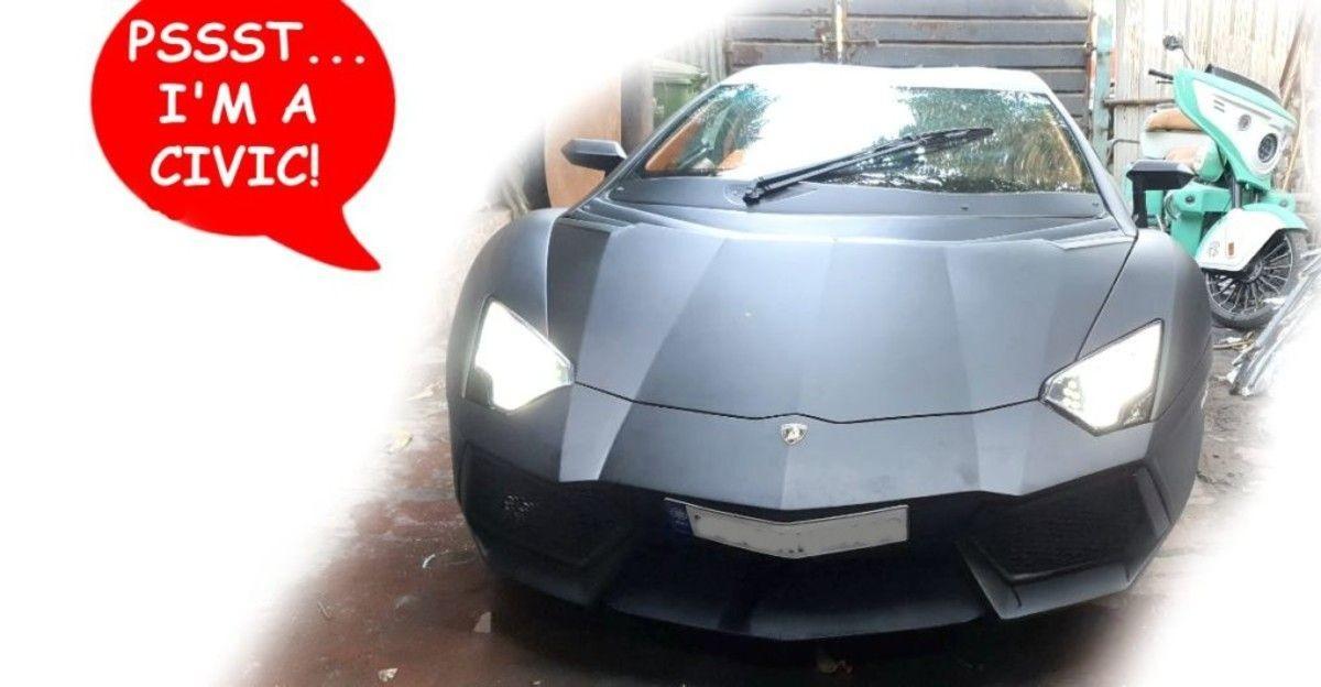 Honda Civic सेडान एक Lamborghini Aventador प्रतिकृति सुपरकार में संशोधित हुई