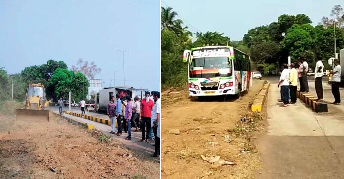 टोल से नाराज, JCB का इस्तेमाल कर ग्रामीणों ने एक अस्थायी बायपास सड़क का निर्माण किया