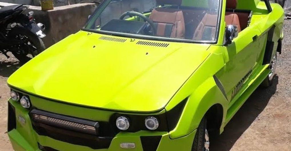 Maruti 800 एक Lamborghini कन्वर्टिबल सुपरकार की तरह दिखने के लिए संशोधित हुई