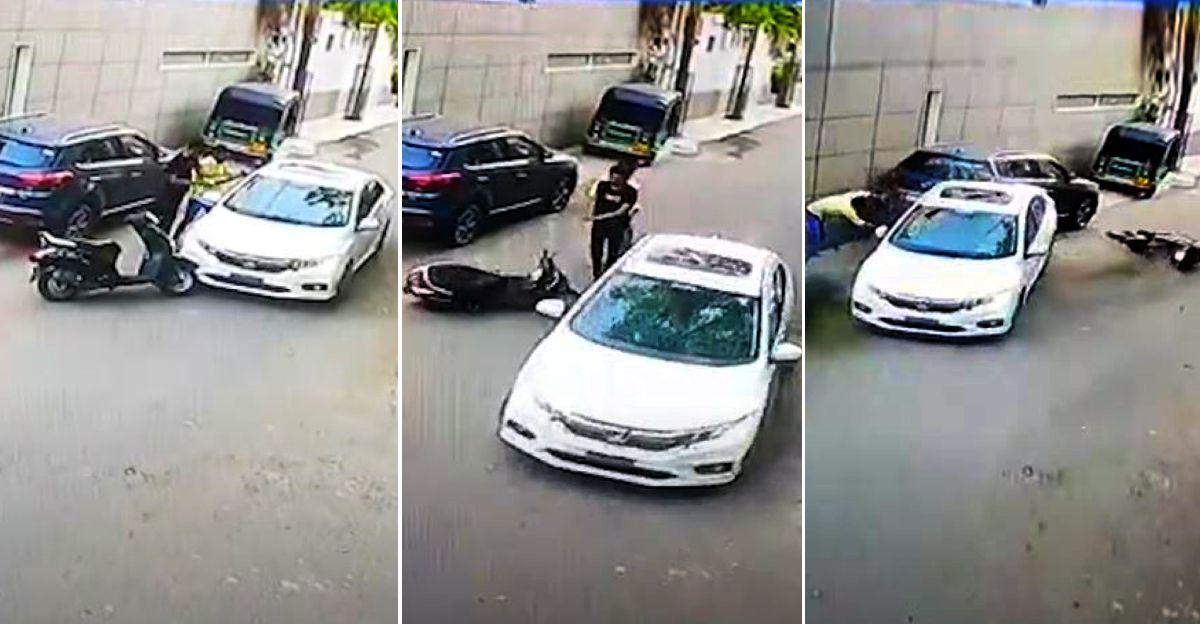 Honda City ड्राइवर ने सड़क पर हिंसक रोष के बाद राजकोट में एक स्कूटर पर दो लोगों को कुचलने की कोशिश की