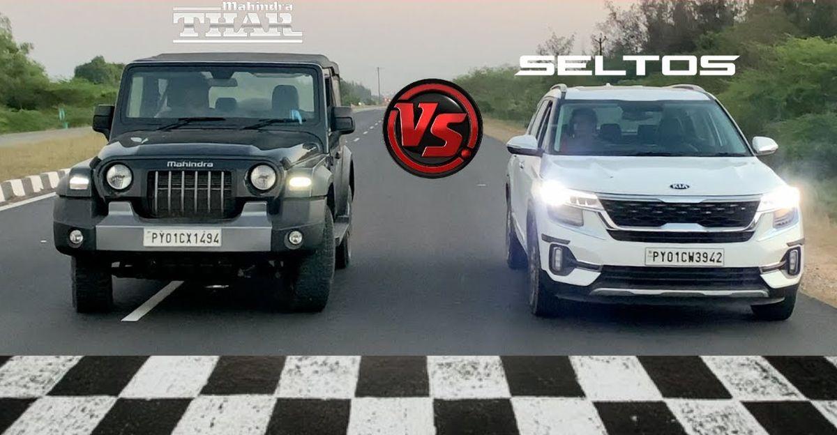 2020 Mahindra Thar vs Kia Seltos एक दौड़ में
