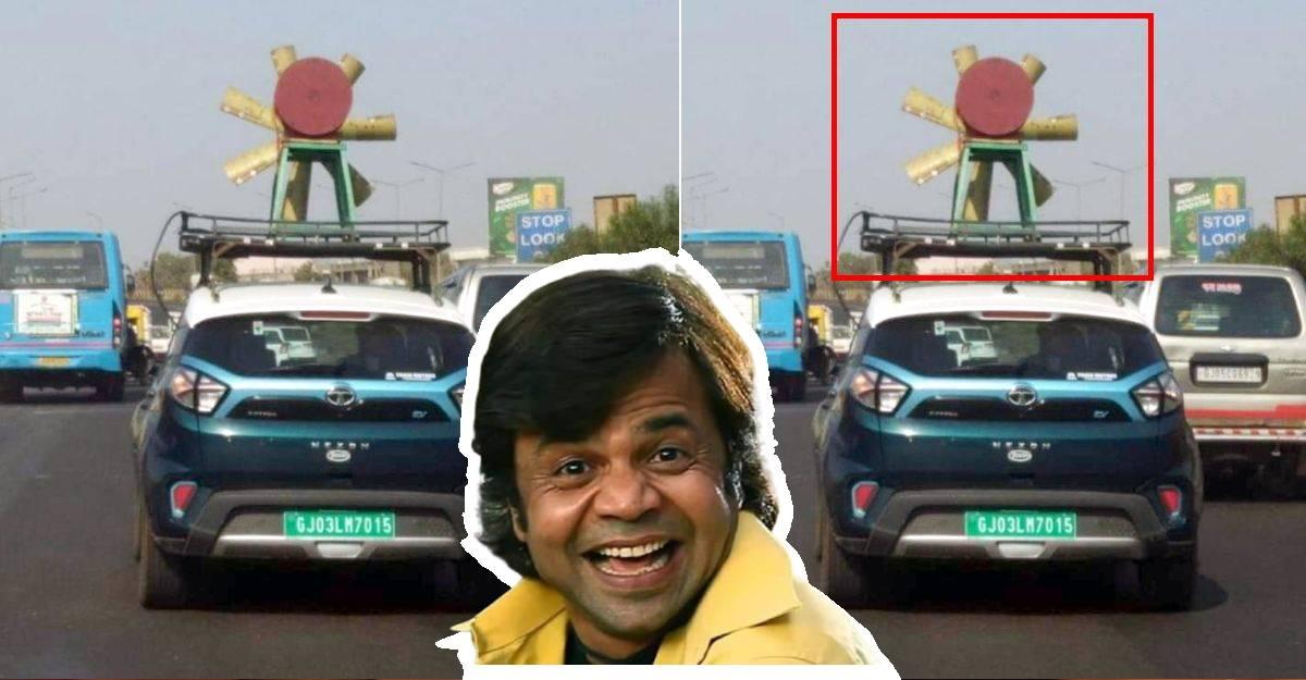 Tata Nexon EV को छत पर एक पवनचक्की के साथ देखा गया