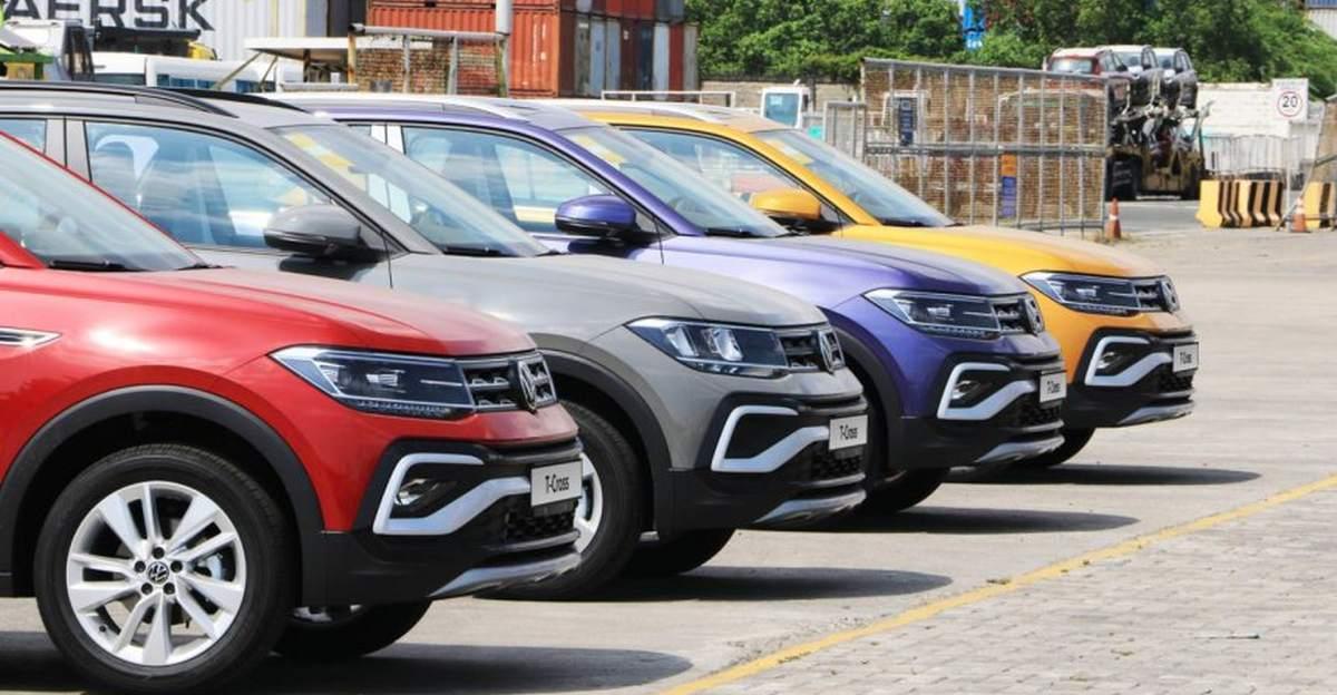Volkswagen Taigun (T-Cross विदेश में) कॉम्पैक्ट SUV कई रंगों में