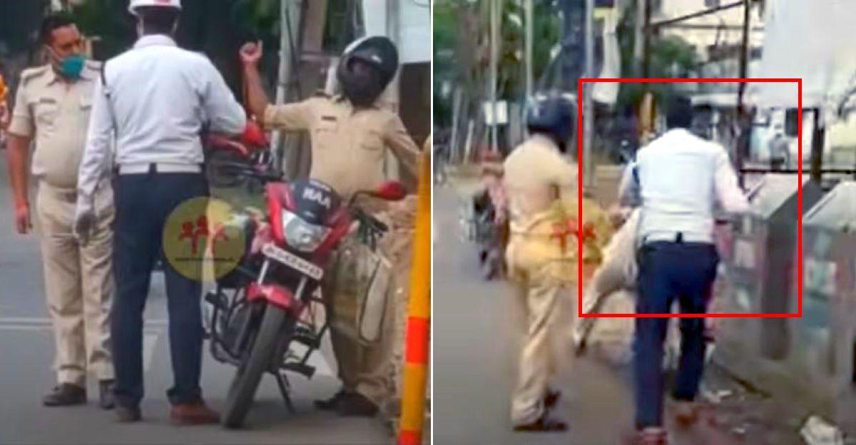 हेलमेट नहीं पहनने पर यातायात पुलिसकर्मी ने एक पुलिस वाले को रोका: दोनों ने शुरू की लड़ाई [वीडियो]