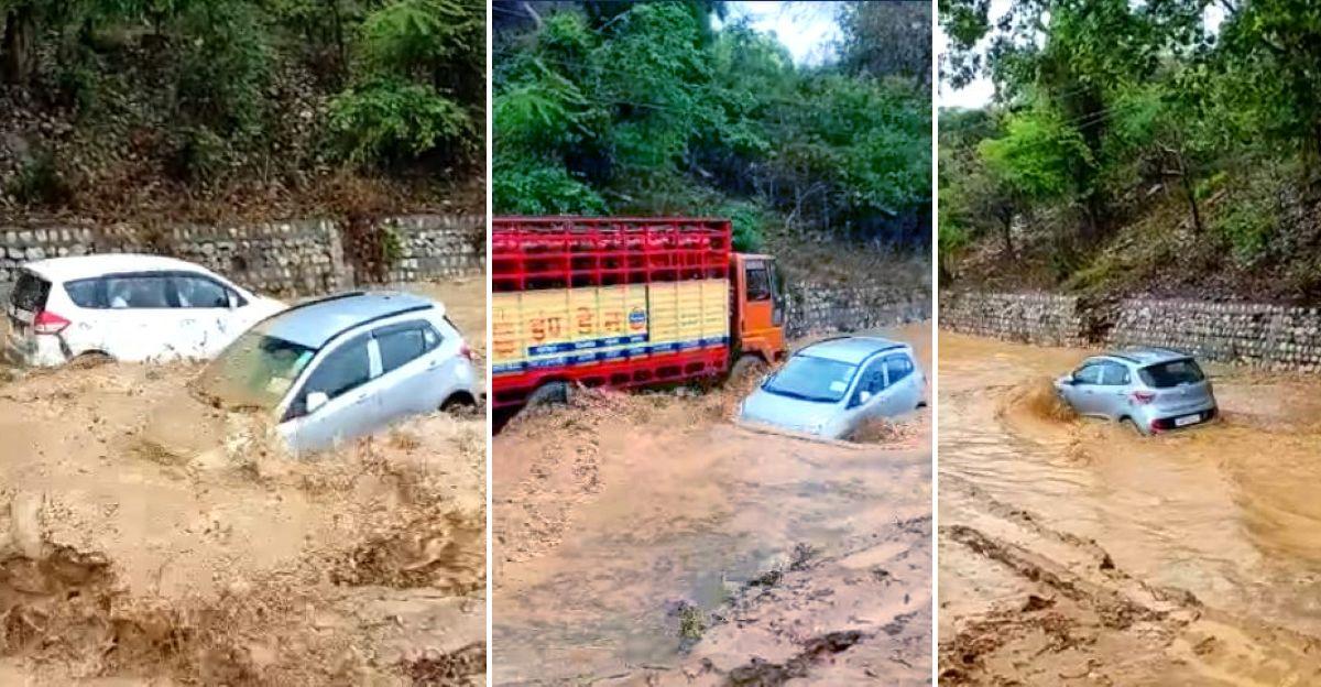 भारत का सबसे बहादुर Hyundai Grand i10 ड्राइवर दिखाता है कि बाढ़ वाली सड़क पर कैसे 'तैरना' है
