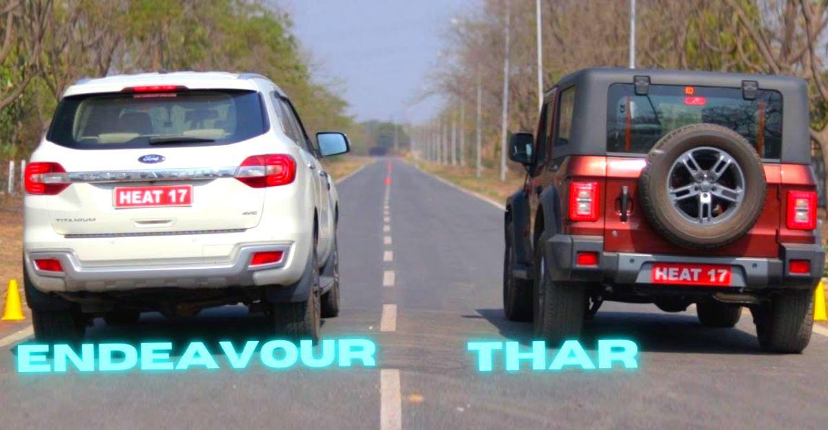 ड्रैग रेस में Mahindra Thar बनाम Ford Endeavour