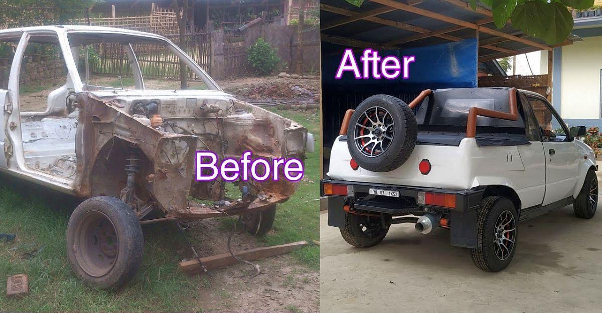 Maruti 800 को रद्दीखाना से बचाया गया और एक पिकअप ट्रक के रूप में फिर से बनाया गया