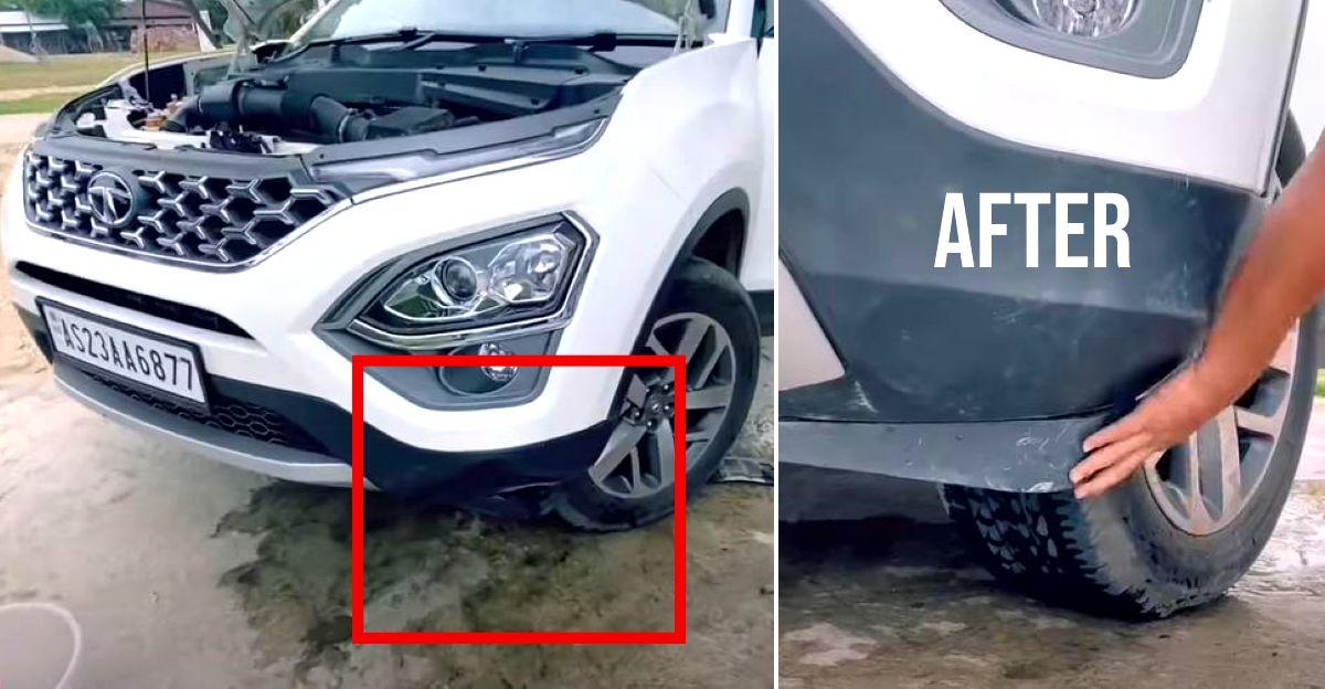 New Tata Safari मालिक दिखाता है कि घर पर Bumper क्षति को कैसे ठीक किया जाए