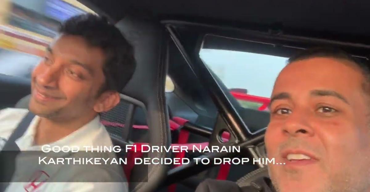 पूर्व F1 ड्राइवर Narain Karthikeyan ने Chetan Bhagat को Porsche 911 GT3 में हवाई अड्डे पर उतारा