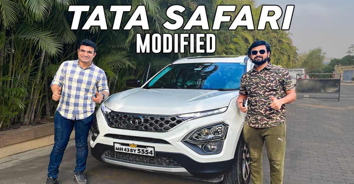 2021 Tata Safari को उच्च इन्फ्रारेड हीट रिजेक्शन फिल्म और फर्श मैट के साथ संशोधित किया गया