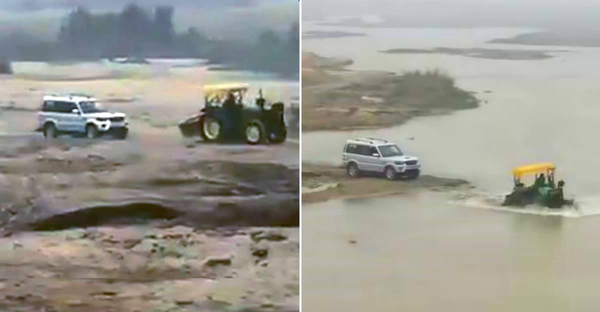 Mahindra Scorpio में पुलिस ने Sand Mafia Tractor का पीछा किया: ट्रैक्टर चालक ने पुलिस को पछाड़ा [वीडियो]