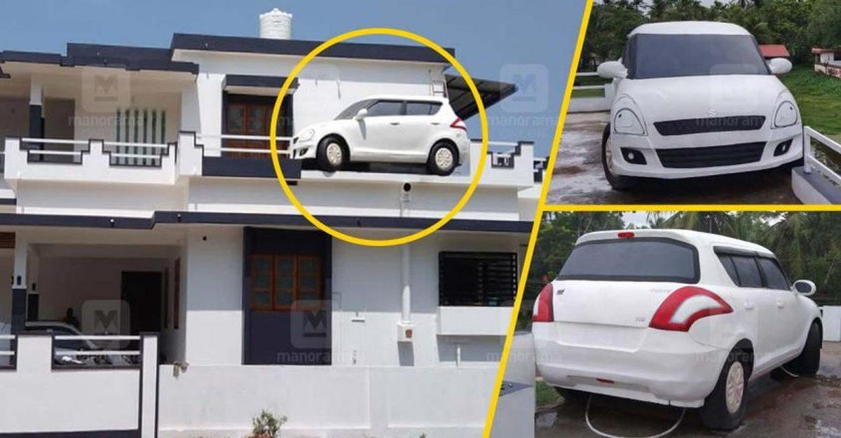 केरल में एक घर के ऊपर Maruti Suzuki Swift वास्तव में एक चिमनी है