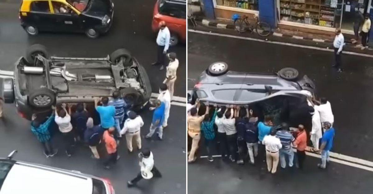 मुंबई की भीड़ ने Ford EcoSport SUV को उसके पहियों पर वापस लाने में मदद की