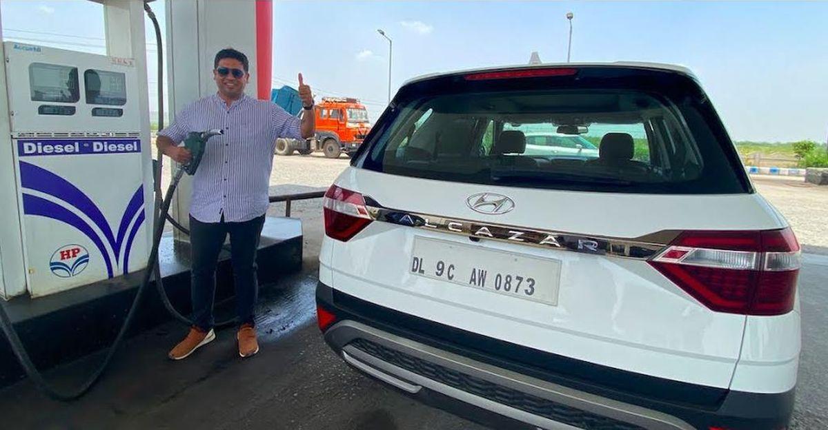 वीडियो पर Hyundai Alcazar डीजल SUV माइलेज टेस्ट