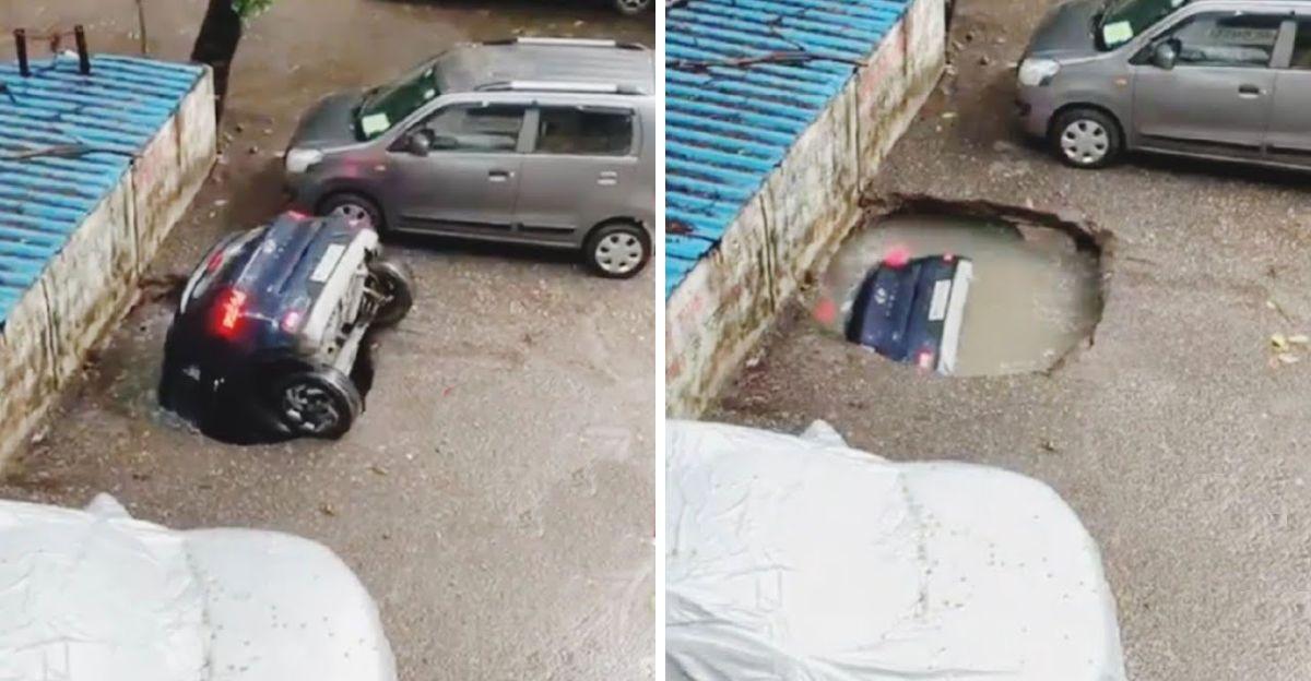 Hyundai Venue कॉम्पैक्ट एसयूवी मुंबई की बारिश में एक सिंकहोल में गायब हो गई