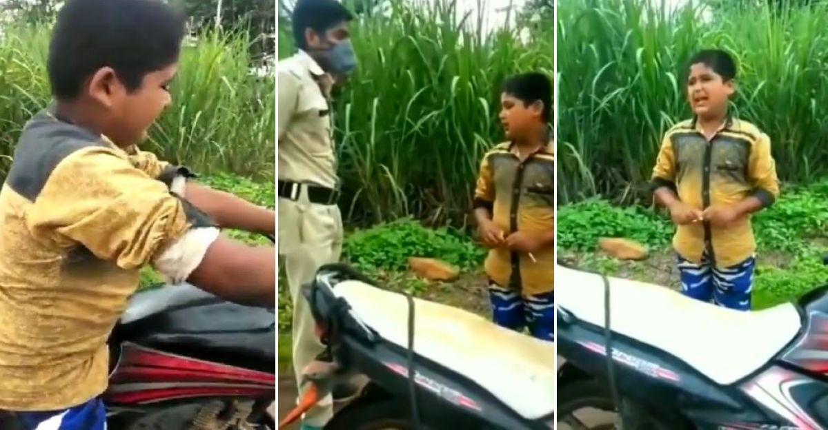 मोटरसाइकिल पर लॉकडाउन तोड़ने पर बच्चे को पकड़ा: पुलिस ने चेतावनी के बाद उसे जाने दिया