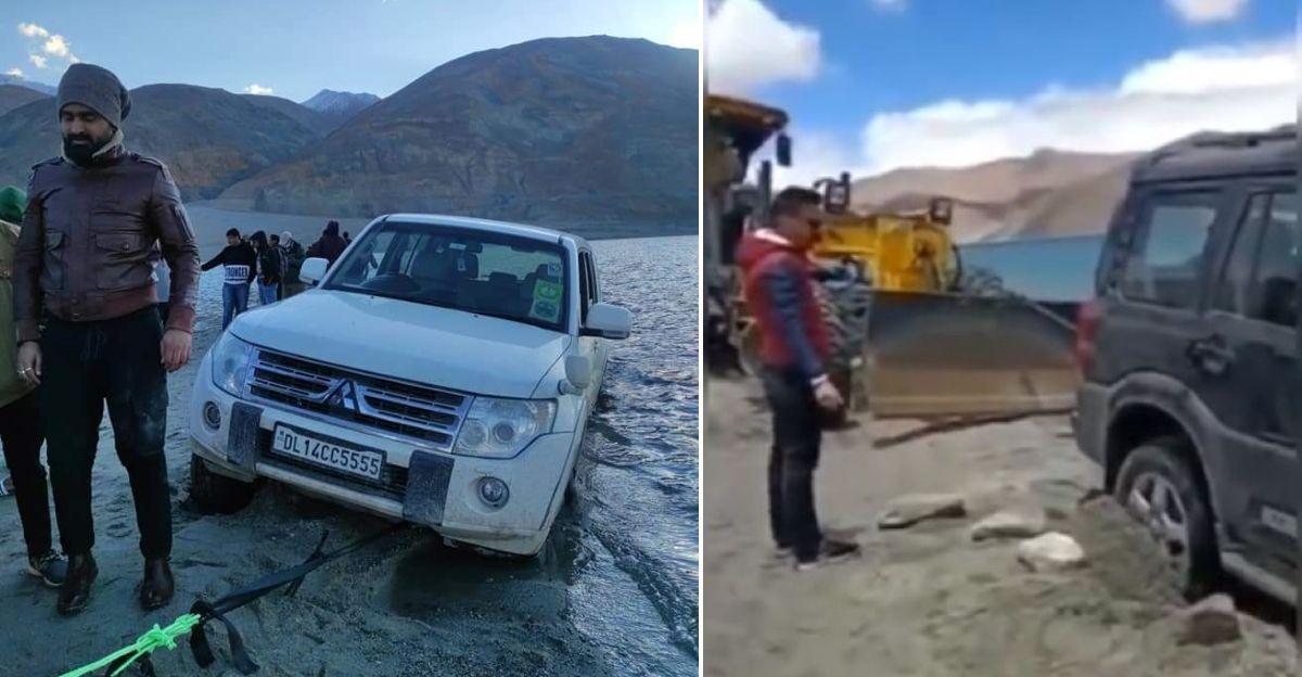 Mahindra Scorpio, Mitsubishi Montero और Isuzu V-Cross में गैर-जिम्मेदार पर्यटक Pangong Tso में ड्राइव करते हैं: फंस जाते हैं