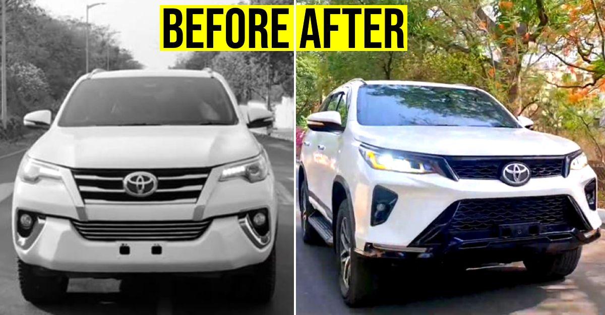 Pre-facelift Toyota Fortuner 2 लाख रुपये में एकदम नई Legender में तब्दील हो गई
