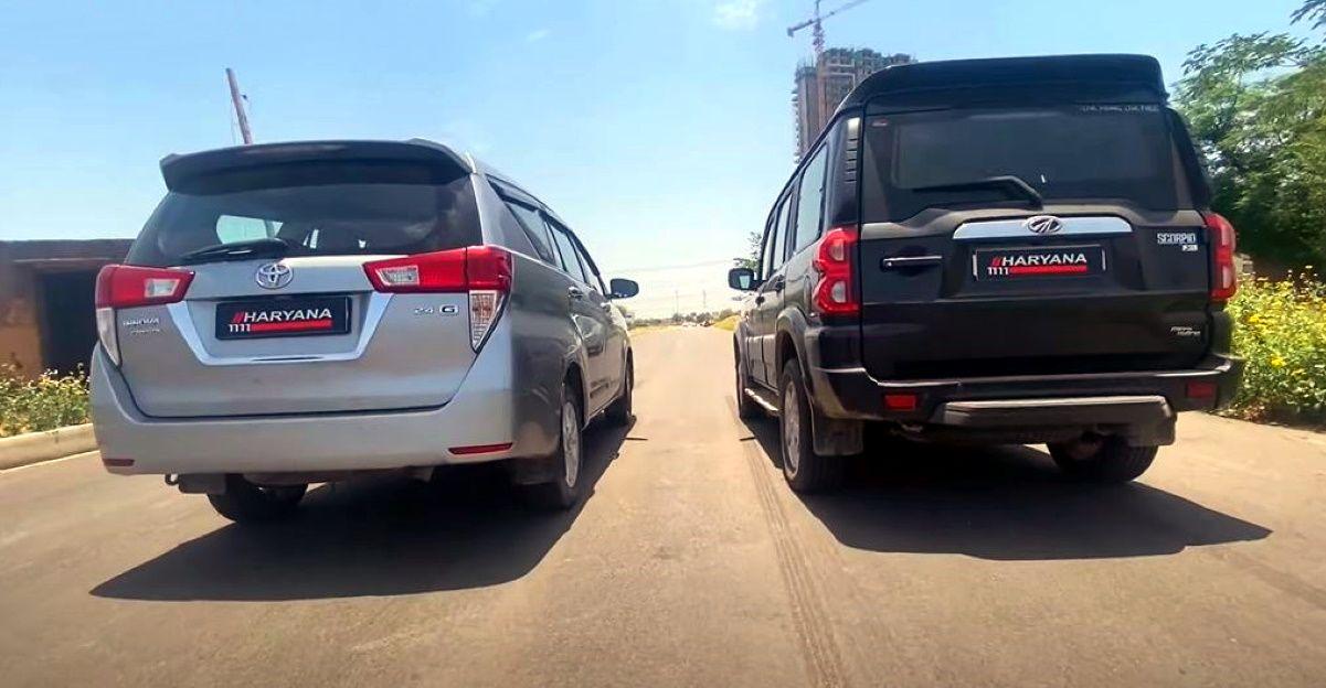 Mahindra Scorpio बनाम Toyota Innova Crysta एक ड्रैग रेस वीडियो में