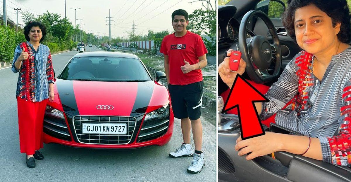 YouTuber अपनी माँ को Audi R8 सुपरकार चलाना सिखाता है