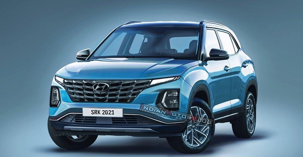 2022 Hyundai Creta कॉम्पैक्ट एसयूवी फेसलिफ्ट: सामने की पट्टी देखी गई