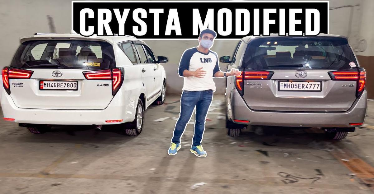 मैकन स्टाइल टेल लाइट के साथ संशोधित Toyota Innova Crysta MPV हॉट दिखती है
