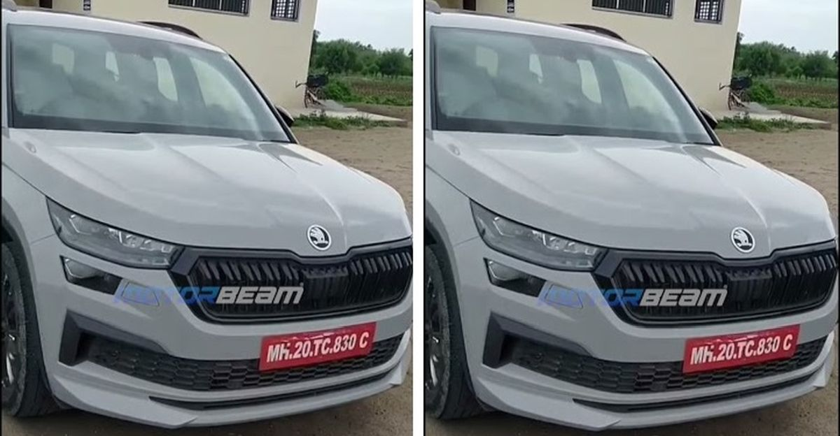 Skoda Kodiaq Facelift को भारत में बिना छलावरण के परीक्षण के दौरान देखा गया