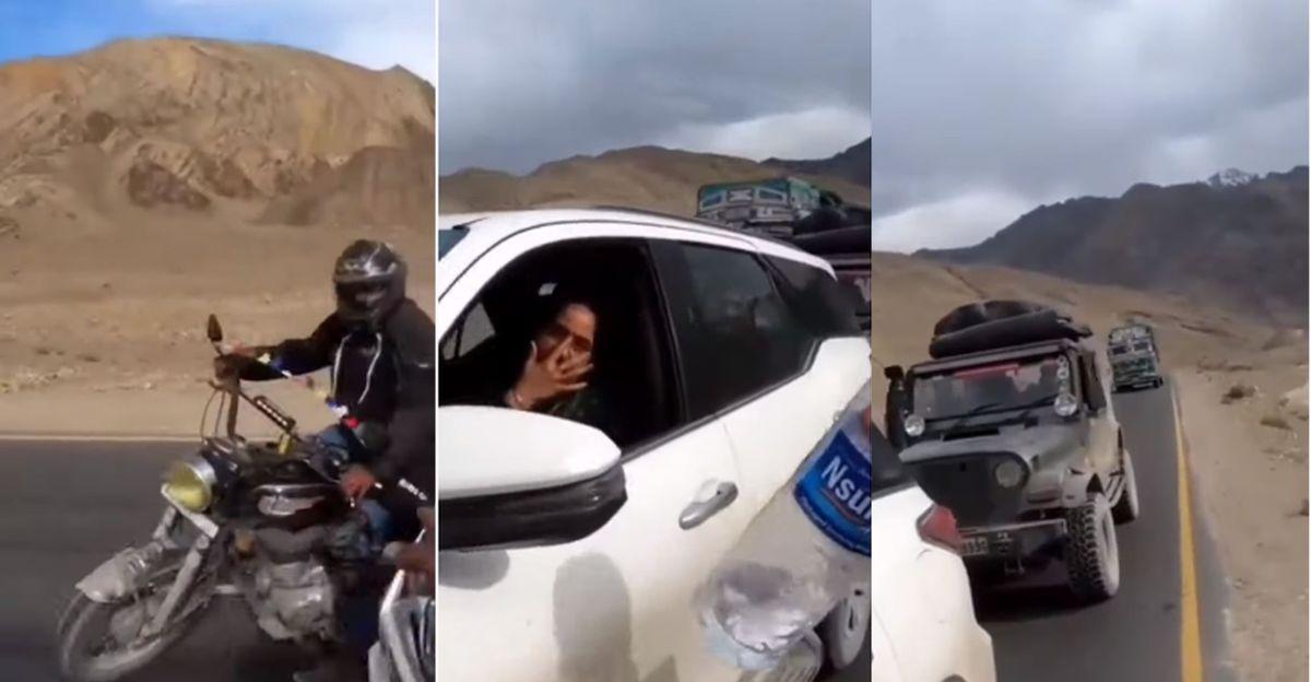 लद्दाख में पर्यटक ने एक Toyota Fortuner से कचरा फेंका: बाइकर्स ने उन्हें रोका और उन्हें वापस दिलवाया [वीडियो]