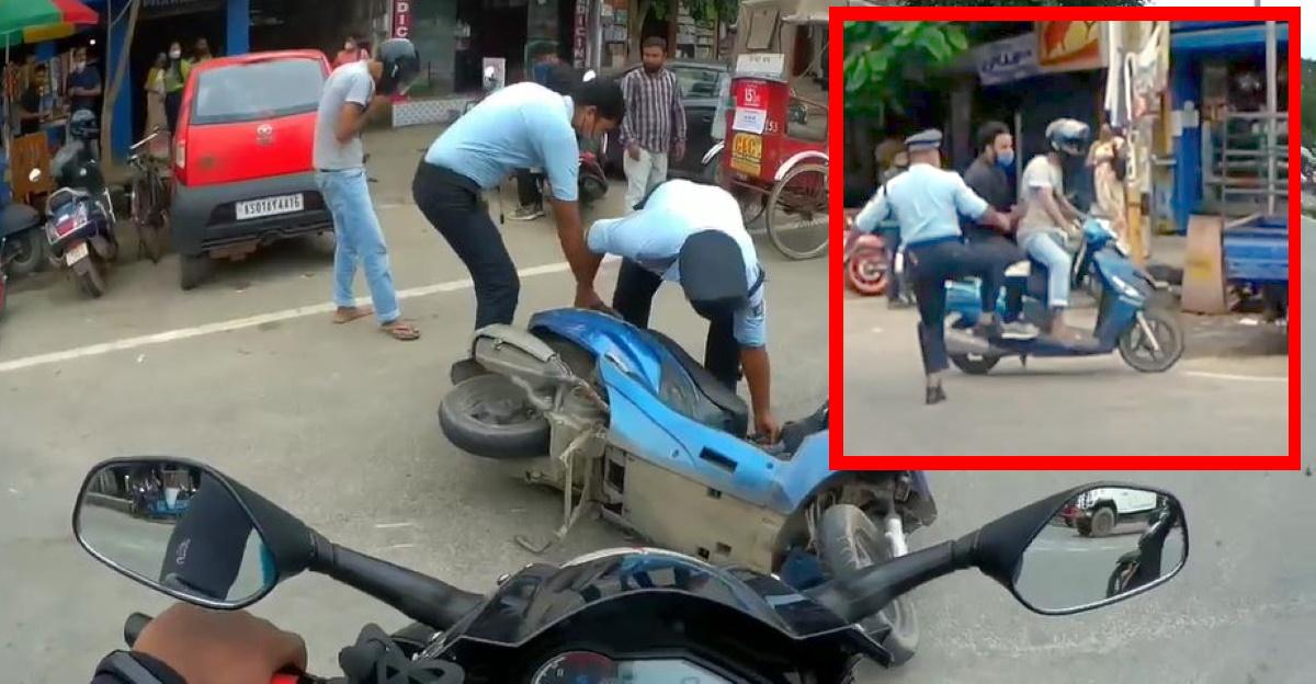 असम पुलिस ने सवारियों को रोकने के लिए स्कूटर को लात मारी, जिससे दुर्घटना हुई