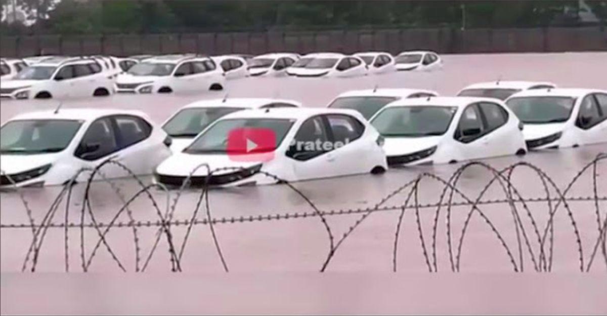 दर्जनों Tata Safari SUVs & Altroz प्रीमियम हैचबैक बाढ़ प्रभावित स्टॉकयार्ड में डूब गईं