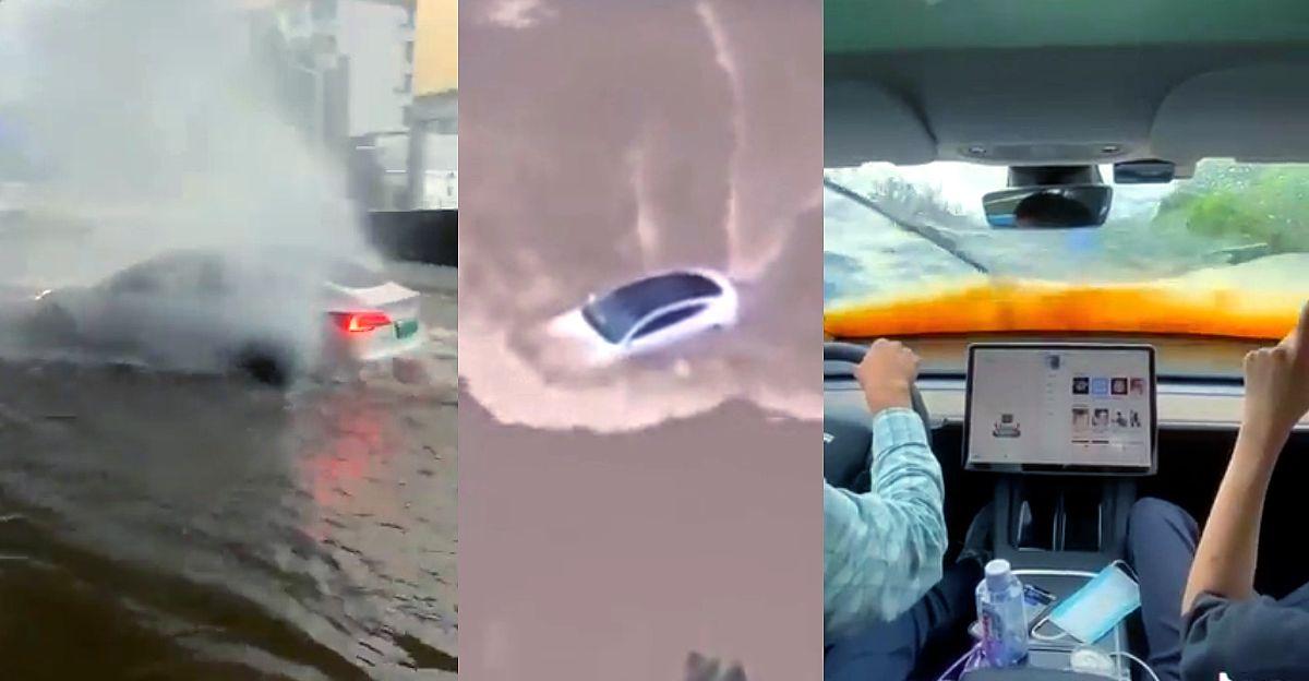 Tesla Model 3 को बाढ़ वाली सड़कों को पार करते हुए देखें जबकि अन्य कारें फंस जाती हैं
