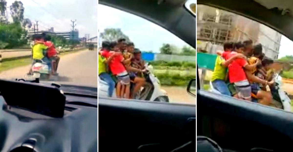 एक Honda Activa की सवारी करते हुए पकड़े गए 7 नाबालिग सवार: पिता पर मामला दर्ज और स्कूटर जब्त