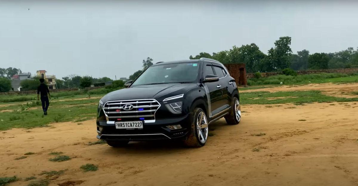 20 Inch Alloy Wheels के साथ मॉडिफाइड Hyundai Creta देखने में आकर्षक है