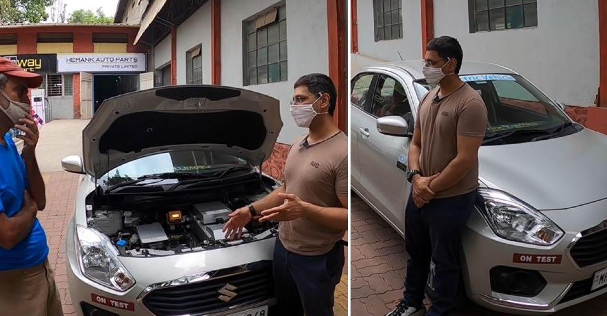 Maruti Suzuki Dzire को रूपांतरण किट का उपयोग करके इलेक्ट्रिक में परिवर्तित किया गया
