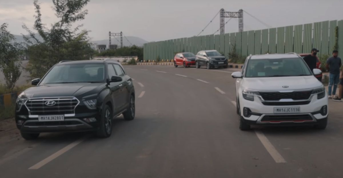 क्लासिक ड्रैग रेस में Hyundai Creta बनाम Kia Seltos Diesel ATs
