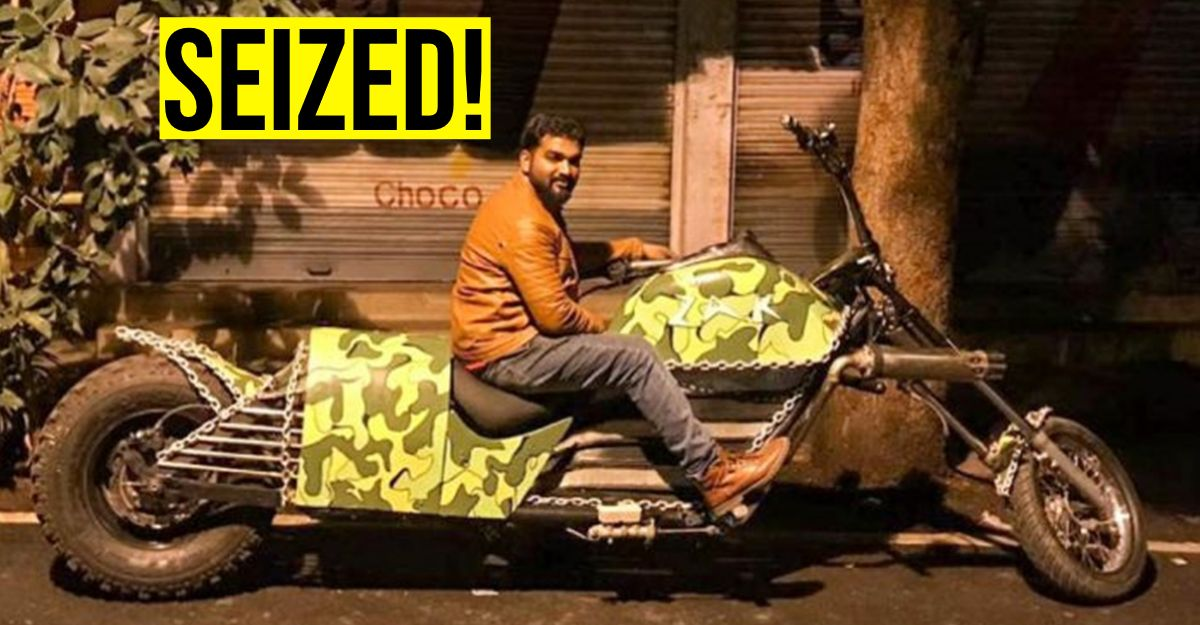 विश्व रिकॉर्ड विजेता मॉडिफाइड चोपर को कार्यशाला में खड़ा किया गया, जिसे बैंगलोर में RTO अधिकारियों ने जब्त कर लिया [वीडियो]