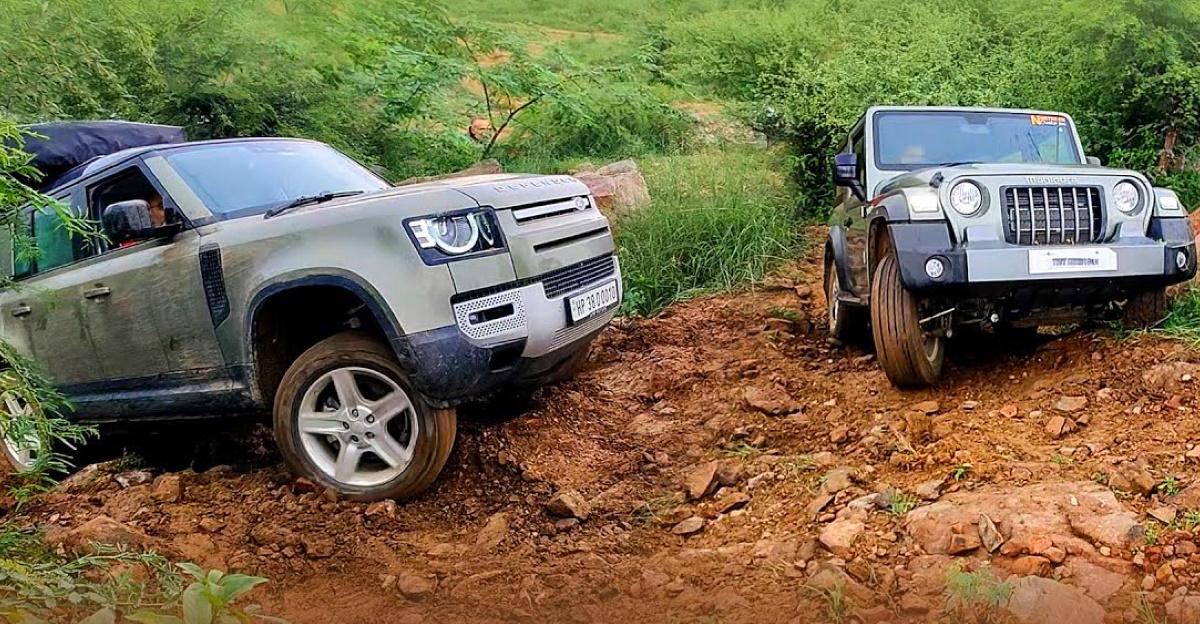 Land Rover Defender फंस गया, Mahindra Thar ने चढ़ाई पूरी की