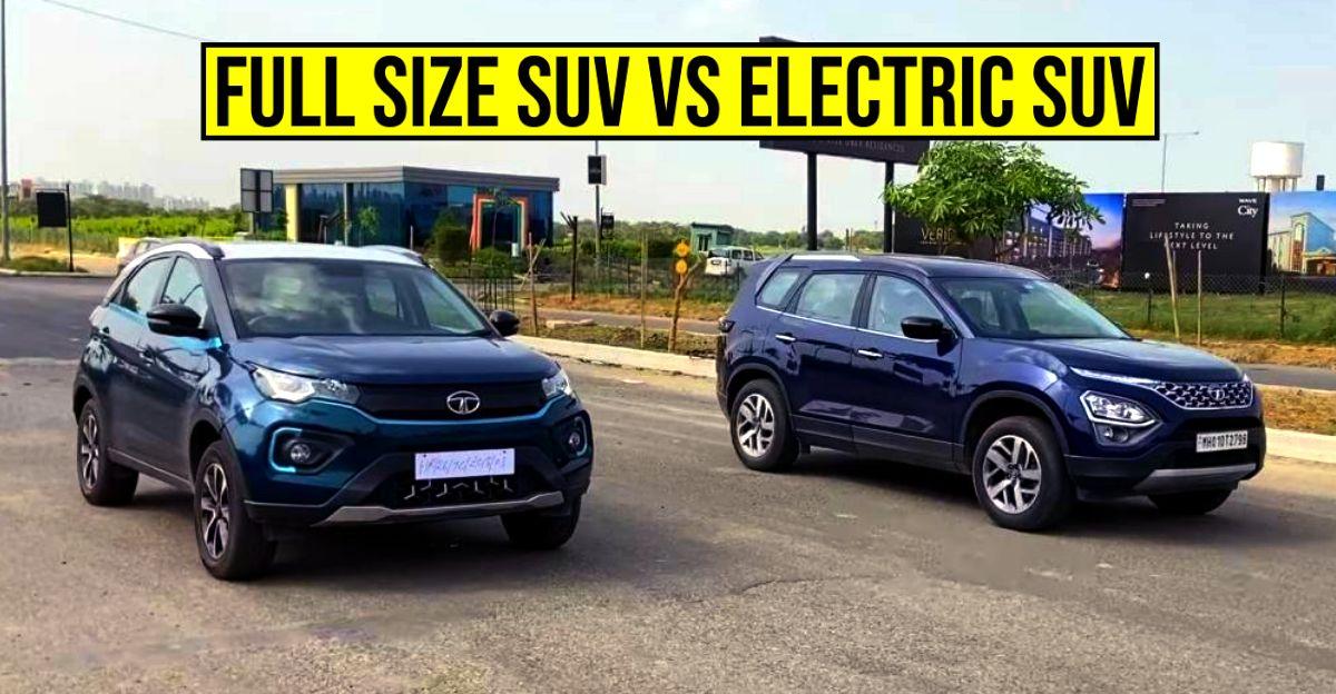 New Tata Safari बनाम Nexon इलेक्ट्रिक SUV क्लासिक ड्रैग रेस में